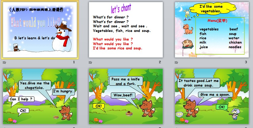 unit 5 what would you like? Part B let's learn &