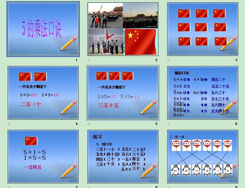 北京版小学数学二年级上册5的乘法口诀第一课时 -表内乘法和除法 一