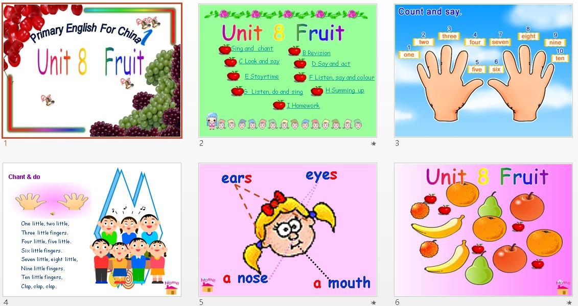 Unit8Fruit儿歌 小学英语,深港朗文版,一小班上教案数数课件年级图片